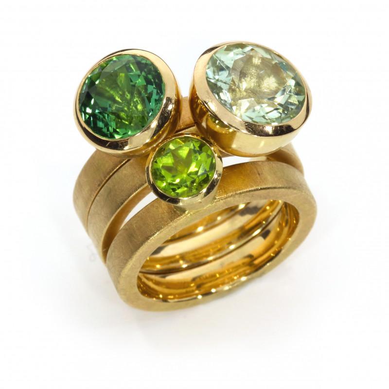 Ringe Rosegold grüner Turmalin hellgrüner Turmalin Peridot (1005025.24 1005025.25 1005025.26)