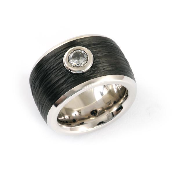 Verlobungsring Palladium Carbon Weissgold Brillant (1005619.1)