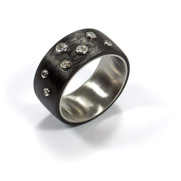 Damenring Sternenhimmel Stahl Carbon (1006069_2)