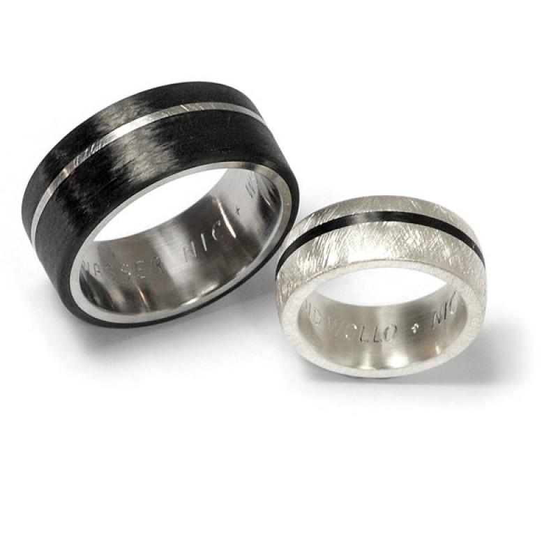Partnerringe Edelstahl Carbon Silber (1006293)