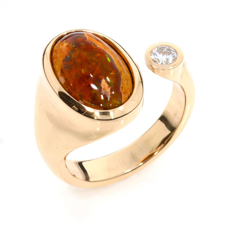 Damenring Rotgold Opal Brillant offene Ringschiene (1007279)