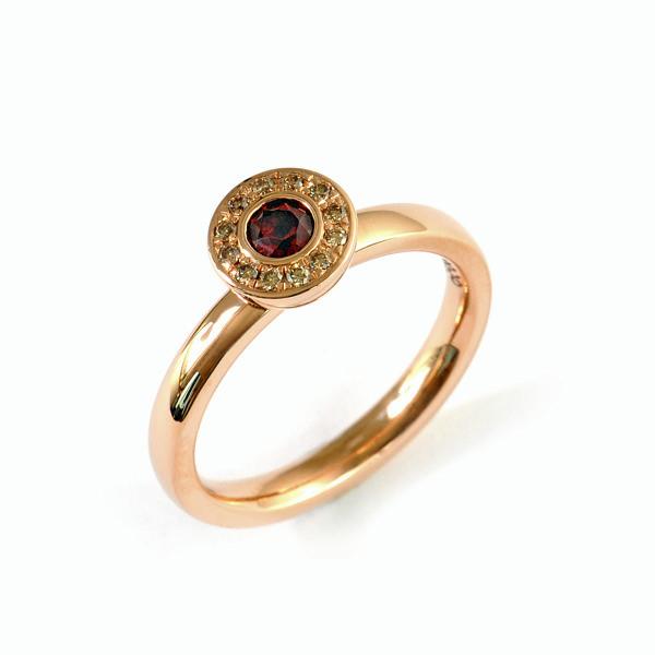 Verlobungsring Rotgold Brillant Granat (1007816)