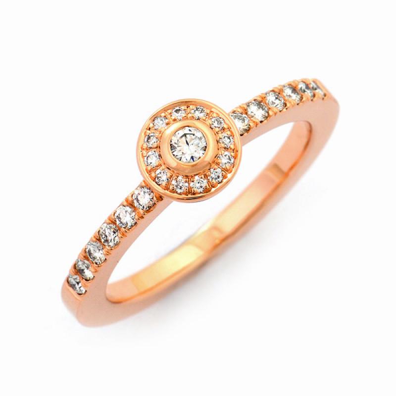 Verlobungsring Rotgold Brillanten (1007849)
