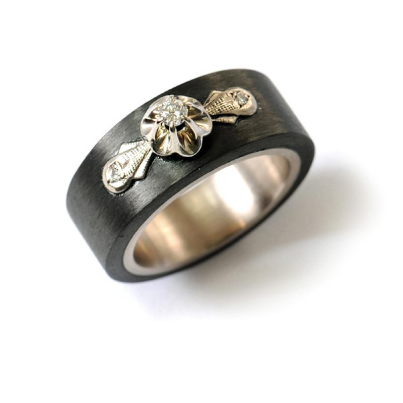 Verlobungsring Carbon Weissgold Antik Diamanten (1007986.2)