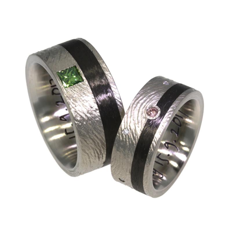 Eheringe Palladium Carbon Struktur Diamanten (1008207)