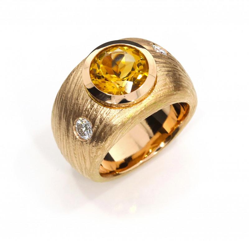 Damenring Rotgold Citrin Brillanten Struktur (1009816)