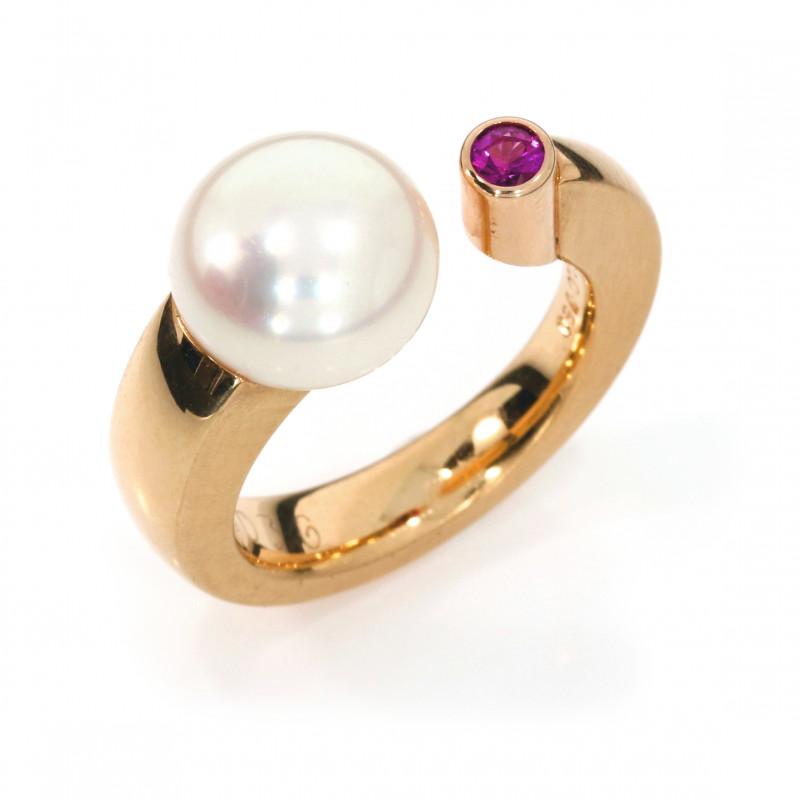 Ring Roségold pink Saphir Süsswasserperle (250036)