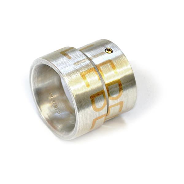 Eheringe Silber Schrift Rosegold Brillanten (250038)