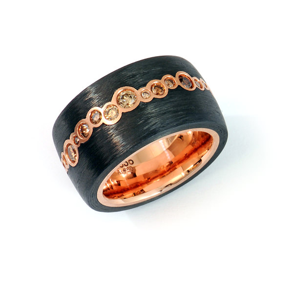 Ring Rotgold Carbon Brillanten (250759)