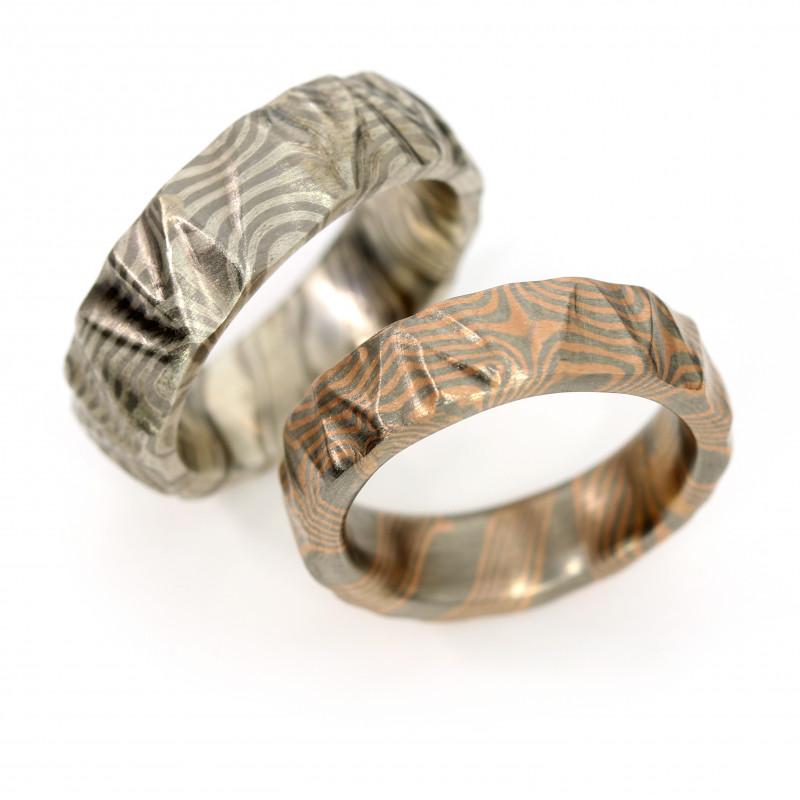 Eheringe Mokume Gane Palladium Silber Rotgold (250809)