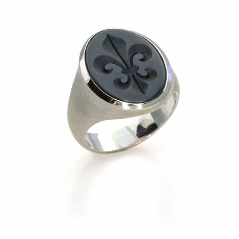 Siegelring Wappenring Hämatit Gravur Silber (250990)