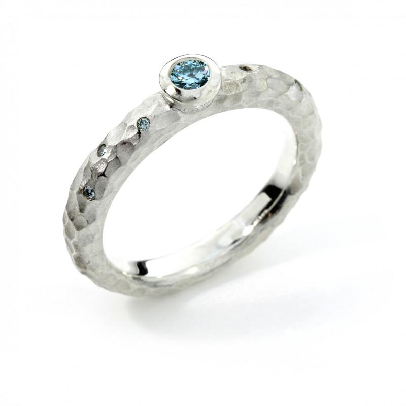 Verlobungsring Silber Brillanten blau (251118)