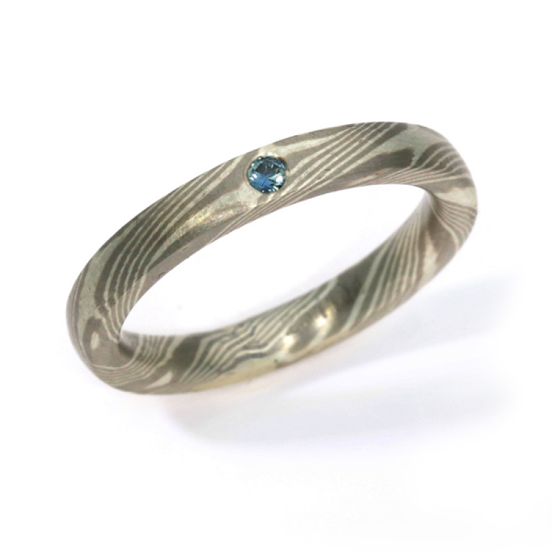 Verlobungsring Mokumegane Palladium Silber blauer Brillant (251141)