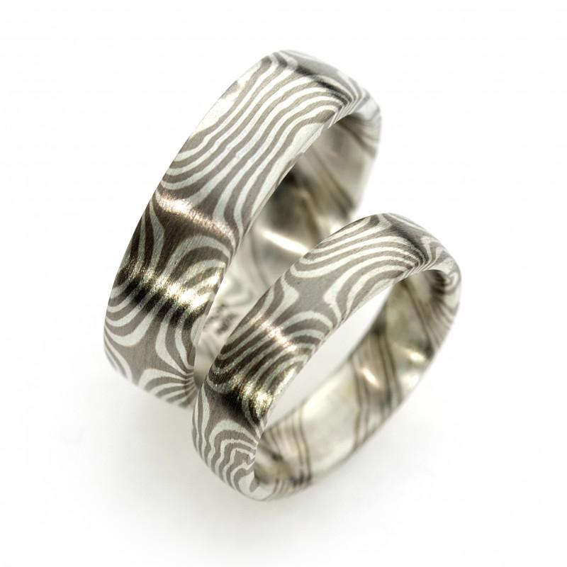 Eheringe Mokume Gane  Palladium Silber (251259)