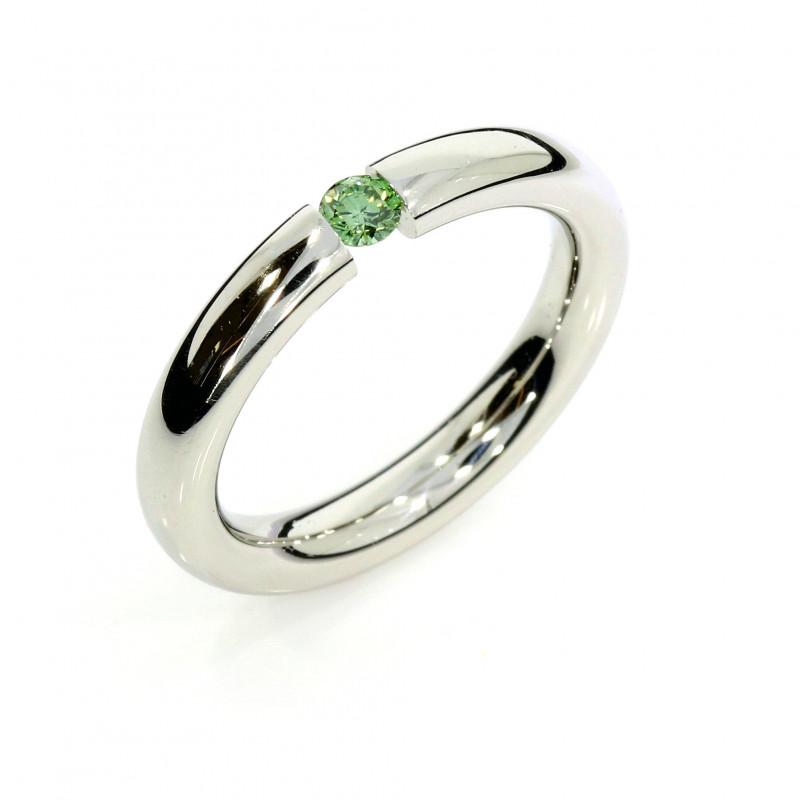 Verlobungsring Spannring Platin grüner Brillant (251339)