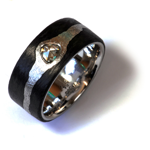 Ring Platin Carbon Diamantrose (1005528)